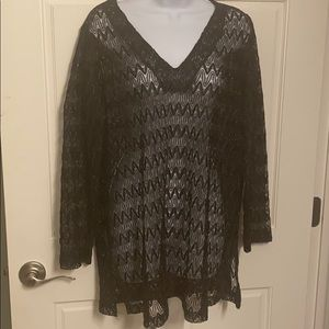 BLACK BATHING SUIT COVER UP SIZE 1X (16 W)